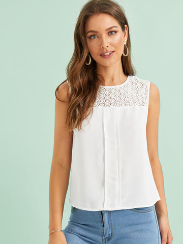 Round Neck Sleeveless Lace Yoke Fold Pleat Front Top