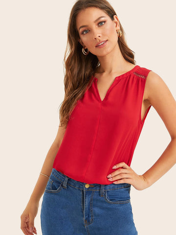 Bright Red Cotton Notched Guipure Lace Insert Shoulder Tank Top