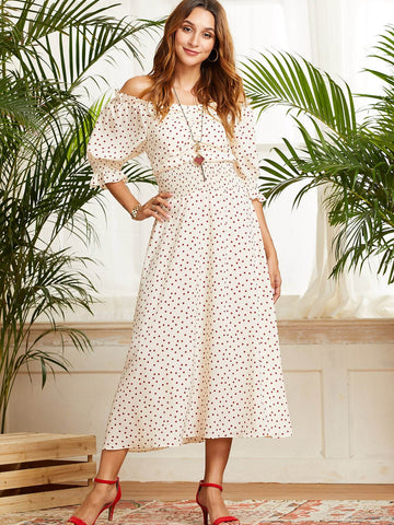 Apricot Off Shoulder Half Sleeve Polka-dot Bardot Frill Trim Shirred Dress