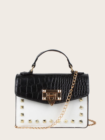 Black and White PU Studded Decor Croc Embossed Satchel Bag
