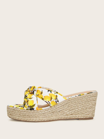 High Heel Boho Open Toe Lemon Print Espadrille Wedges Sandals