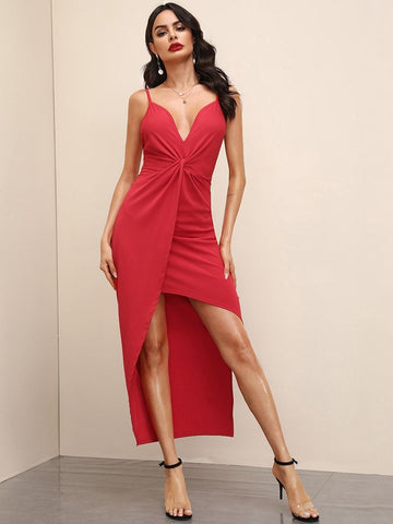 Bright Red Spaghetti Strap Sleeveless Solid Asymmetrical Hem Twist Backless Slip Dress