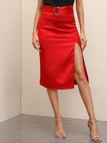 Bright Red High Waist Zip Back Ring Detail Split Thigh Midi Skirt