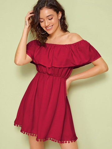 Burgundy High Waist Solid Off Shoulder Ruffle Trim Pompom Detail Dress