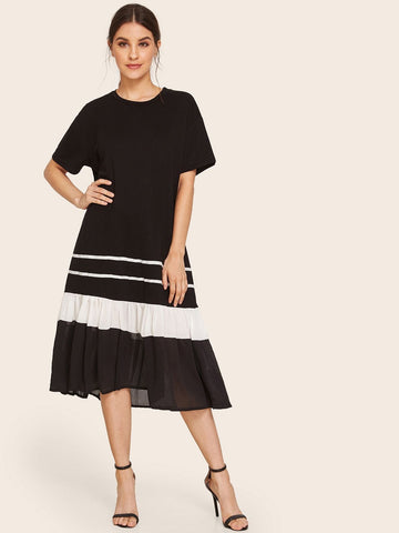 Black and White Round Neck Cut And Sew Ruffle Hem Dress