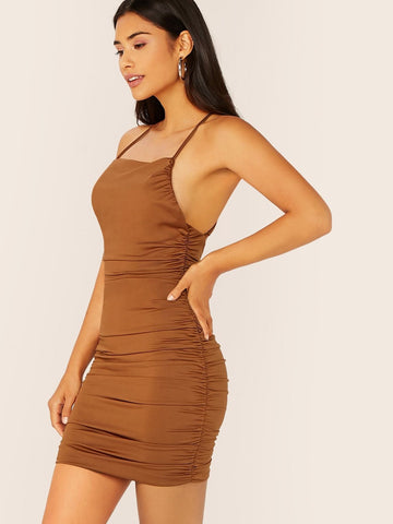 Brown Backless Sleeveless Slinky Knit Ruched Mini Dress