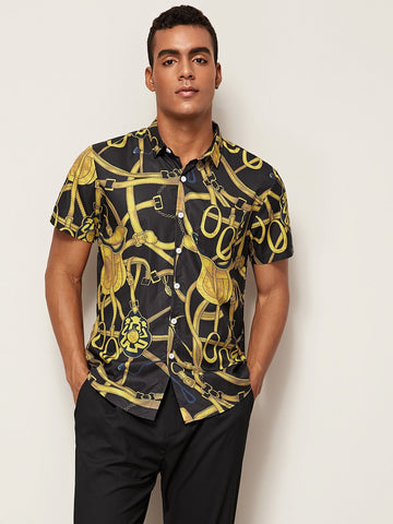 Short Sleeve Chain Print Pocket Shirt