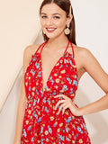 Bright Red Sleeveless Floral Print Plunging Waist Knot Backless Halter Dress