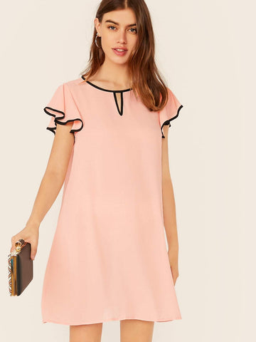 Pastel Pink Butterfly Sleeve Keyhole Neck Contrast Binding Tunic Dress