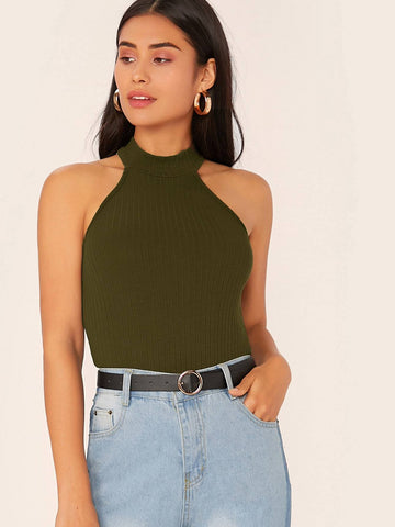 Army Green Solid Rib-knit Halter Top
