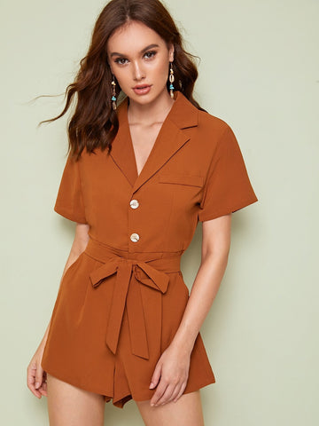 Brown High Waist Button Front Belted Utility Playsuit Jumpsuit