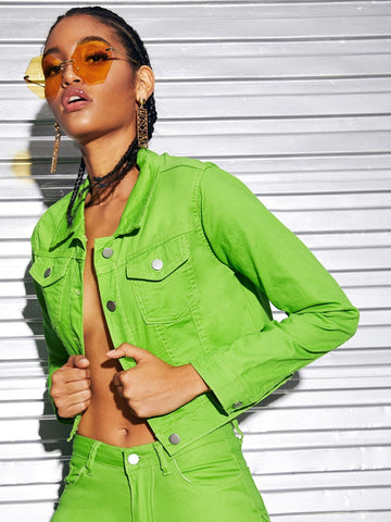 Neon Green Single Breasted Flap Pocket Crop Denim Jacket