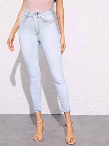 Pastel Blue Bleach Wash Crop Skinny Tapered Jeans