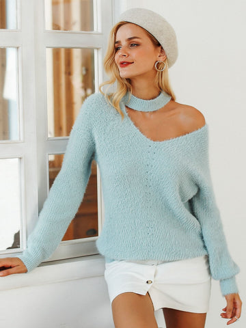 Pastel Green Asymmetrical Choker Neck Fuzzy Sweater