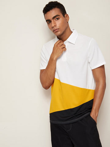 Short Sleeve Men Cut And Sew Panel Polo Shirt T-Shirt
