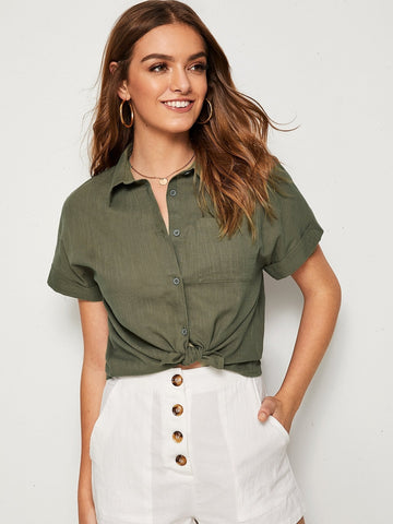 Army Green Short Sleeve Pocket Patched Cuffed Shirt
