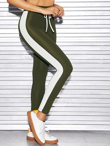Army Green Contrast Panel Side Knot Leggings