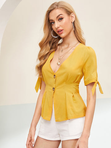 Yellow V-Neck Button Front Knot Cuff Peplum Blouse