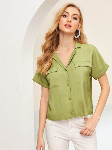 Army Green Short Sleeve Button Front Notch Neck Blouse Top