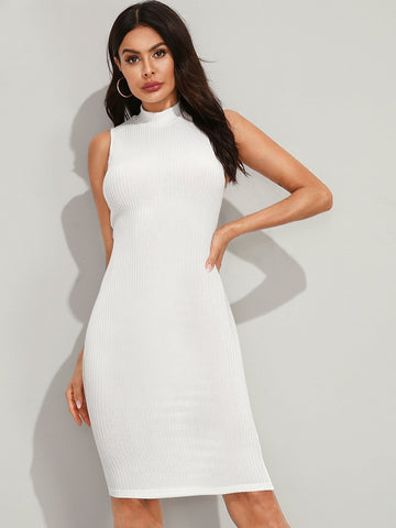 White Stand Collar Solid Mock-Neck Rib-knit Bodycon Pencil Dress
