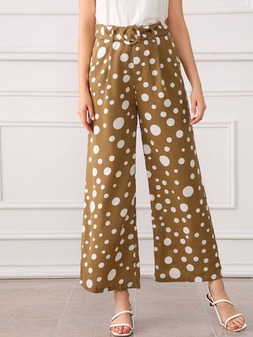 Zipper Fly O-ring Belted Wide Leg Polka Dot Pants