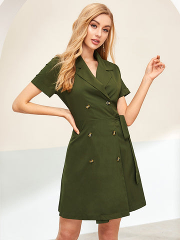 Army Green Notched Neckline Double Breasted Self Tie Wrap Dress