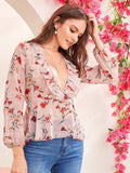 Pastel Pink Long Sleeve Floral Print Plunging Neck Ruffle Trim Top