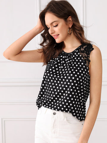 Black and White Round Neck Polka Dot Lace Contrast Sleeveless Top