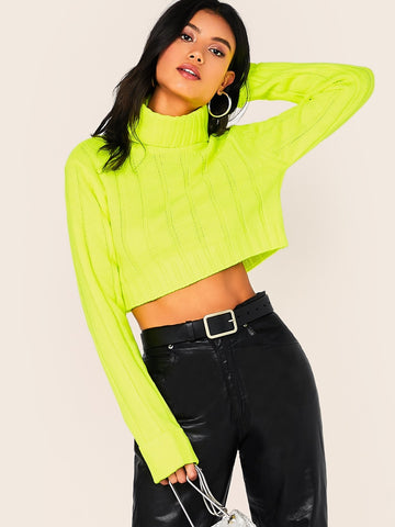 Bright Green High Neck Long Sleeve Turtleneck Large Rib Knit Crop Pullover Sweater