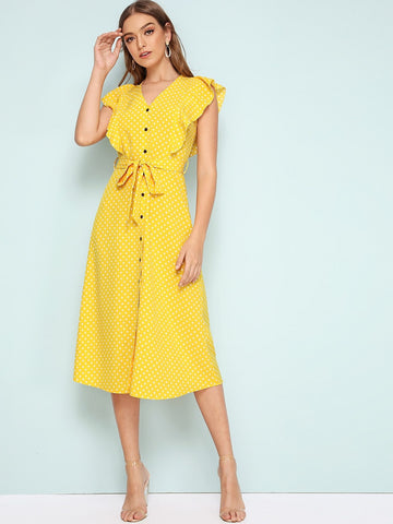 Yellow Butterfly Sleeve V-Neck Polka-dot Ruffle Trim Button Through Belted Dress