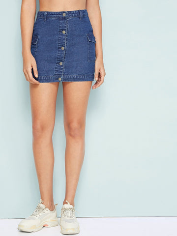 Blue Pocket Patch Button Through Denim Skirt