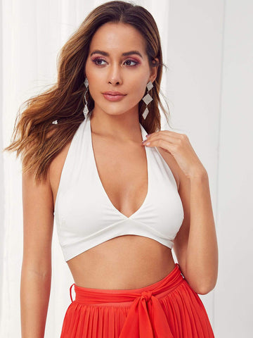 White Sleeveless Solid Plunge Neck Backless Crop Top
