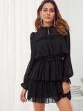 Boho Stand Collar Tie Neck Frilled Detail Ruffle Trim Layered Dress