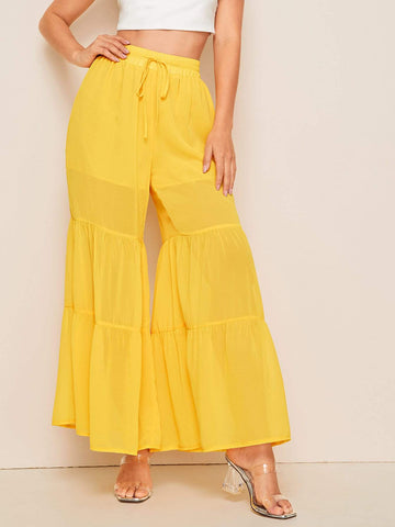 Yellow Drawstring Waist Wide Leg Chiffon Pants