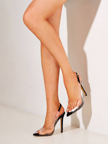 Black and White Peep Toe Clear Stiletto Heels