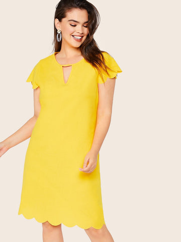 Plus Size Yellow Cap Sleeve Keyhole Neckline Scallop Hem Tunic Dress