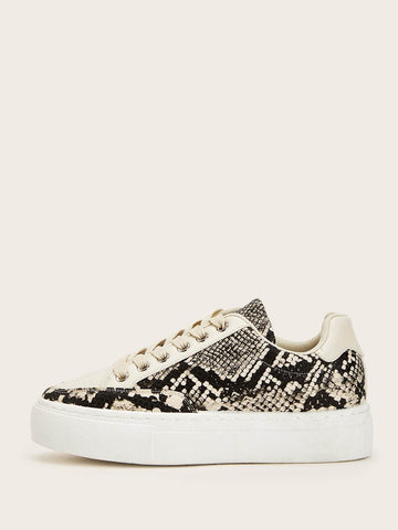 Round Toe Snakeskin Print Lace-up Front Sneakers