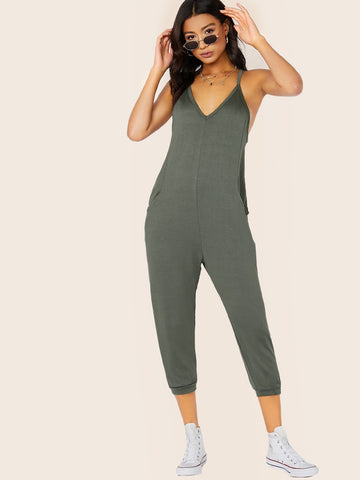 Army Green Spaghetti Strap French Terry Racerback Sleeveless V-Neck Jumpsuit