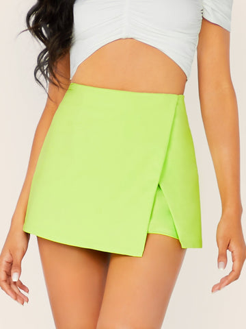 Bright Green Back Zip Neon Wrap Skort Shorts