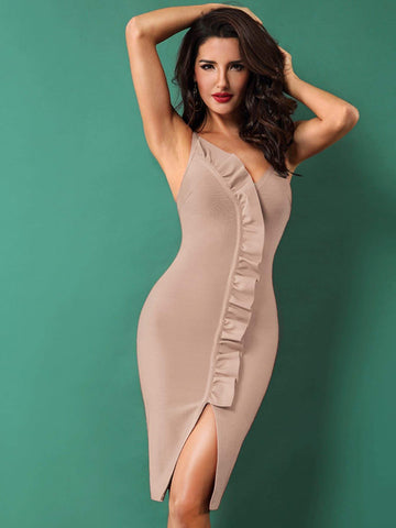Pastel Khaki V-Neck Spaghetti Strap Sleeveless Ruffle Trim Slit Hem Dress