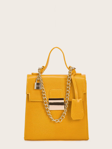 Yellow Croc Embossed Satchel Bag With Chain Handle