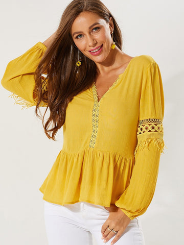 Yellow V-Neck Contrast Solid Lace Insert Ruffle Hem Top