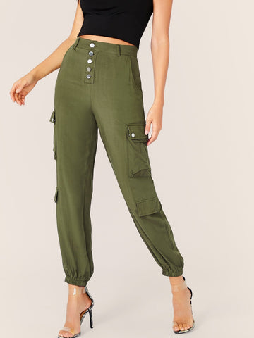 Army Green Mid Waist Solid Button Fly Cargo Pants