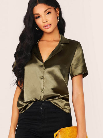 Army Green Notched Collar Short Sleeve Satin Shirt