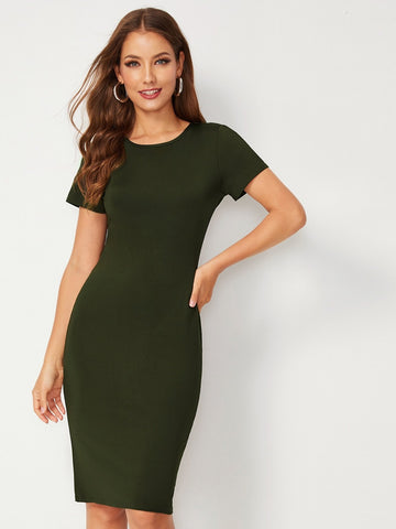 Army Green Round Neck Short Sleeve Bodycon Dress