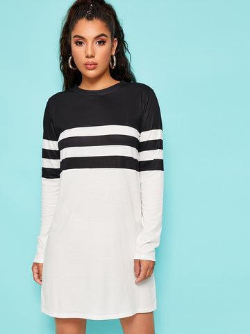 Black and White Round Neck Contrast Panel Striped Tee Dress