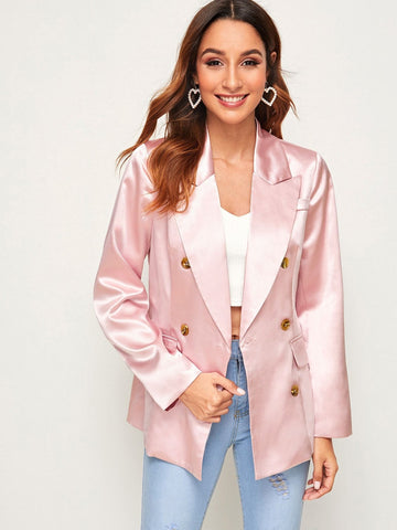Pastel Pink Notched Collar Double Button Pocket Satin Blazer
