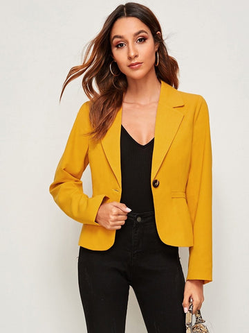 Yellow Notched Collar Solid Single Button Blazer