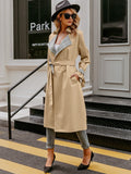 Pastel Khakhi Notched Collar Plaid Knotted Cuff Belted Trench Coat