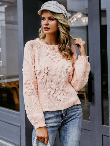 Pastel Pink Round Neck Solid Pompom Detail Sweater
